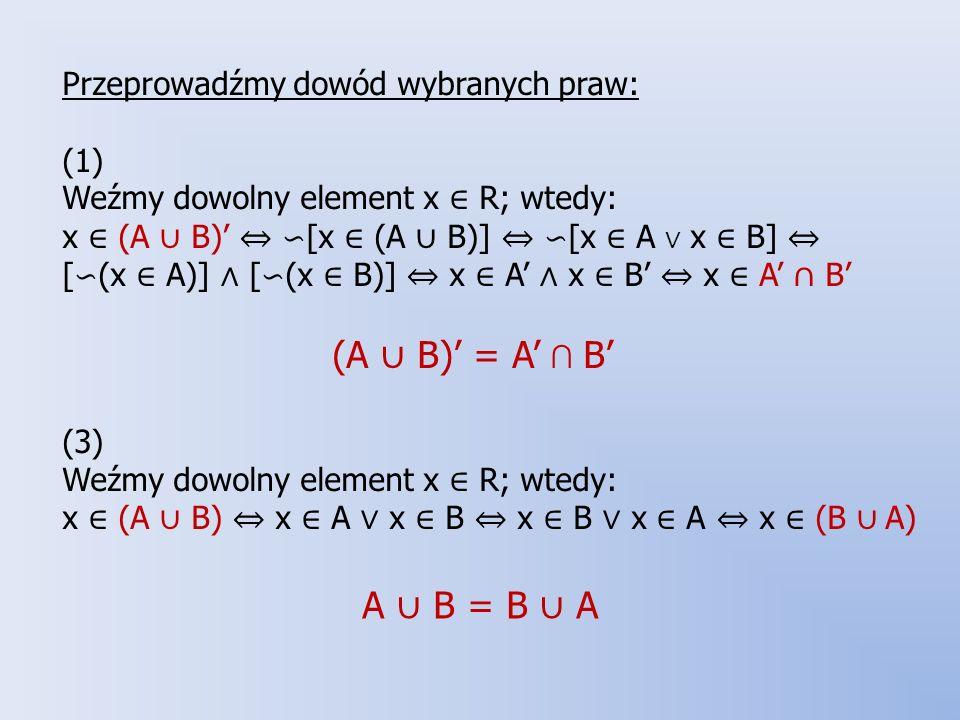 Przeprowadźmy dowód wybranych praw: (1) Weźmy dowolny element x ∈ R; wtedy: x ∈ (A ∪ B)' ⇔ ∽[x ∈ (A ∪ B)] ⇔ ∽[x ∈ A ∨ x ∈ B] ⇔ [∽(x ∈ A)] ∧ [∽(x ∈ B)] ⇔ x ∈ A' ∧ x ∈ B' ⇔ x ∈ A' ∩ B' (A ∪ B)' = A' ∩ B' (3) Weźmy dowolny element x ∈ R; wtedy: x ∈ (A ∪ B) ⇔ x ∈ A ∨ x ∈ B ⇔ x ∈ B ∨ x ∈ A ⇔ x ∈ (B ∪ A)